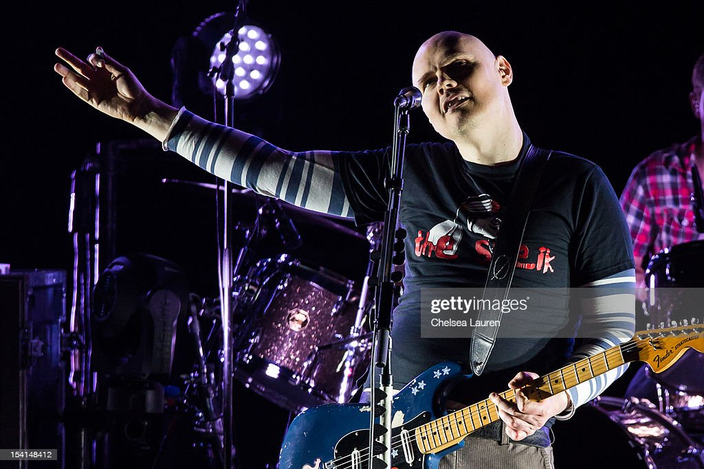 Musician Billy Corgan of The Smashing Pumpkins performs at Gibson Amphitheatre on October 14, 2012 in Universal City, California.