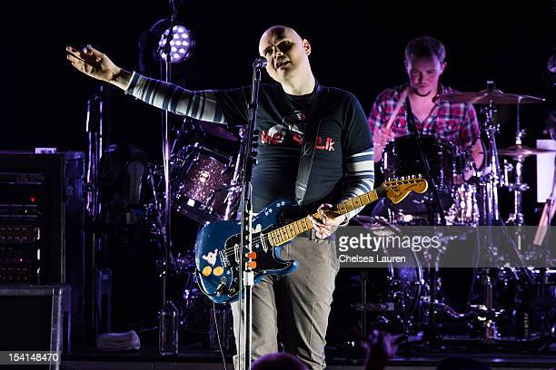 Musician Billy Corgan of The Smashing Pumpkins performs at Gibson Amphitheatre on October 14 2012 in Universal City California