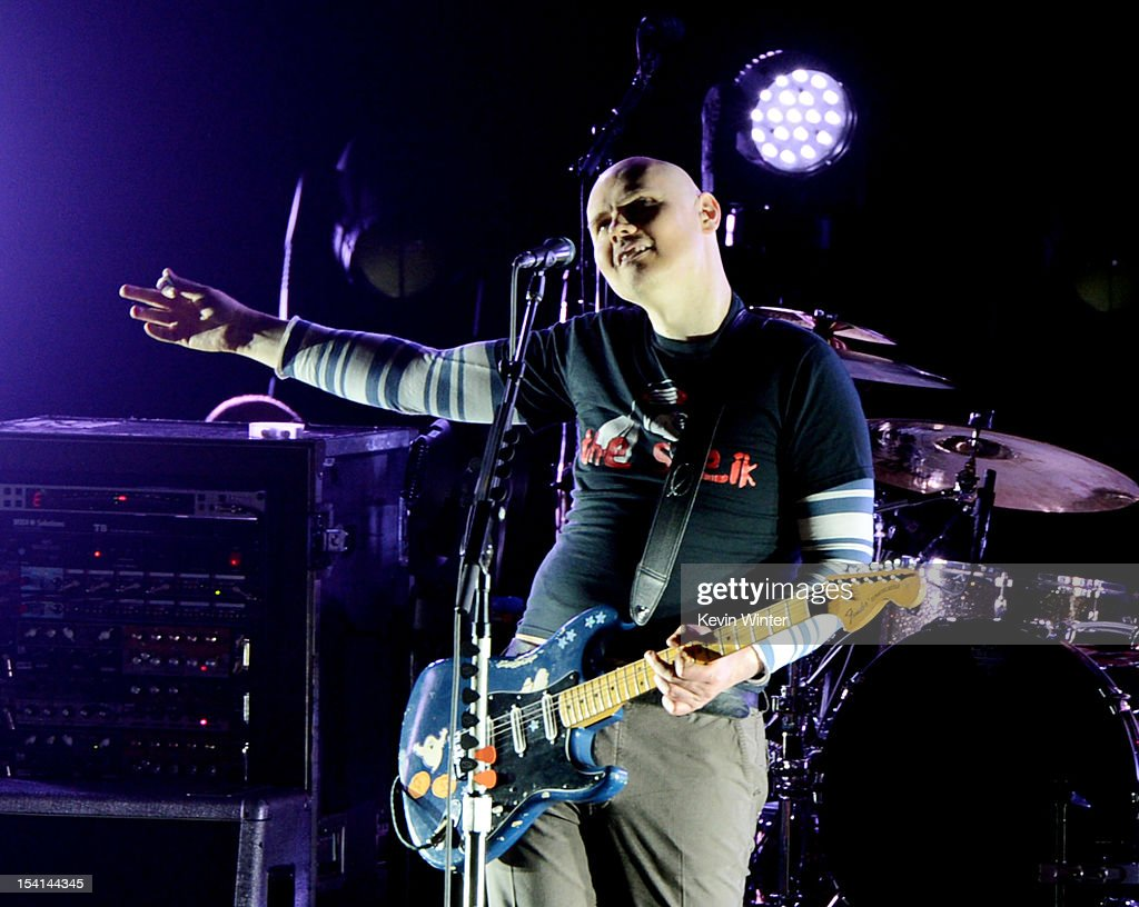 Musician <a gi-track='captionPersonalityLinkClicked' href=/galleries/search?phrase=Billy+Corgan&family=editorial&specificpeople=210832 ng-click='$event.stopPropagation()'>Billy Corgan</a> of the Smashing Pumpkins performs at the Gibson Amphitheatre on October 14, 2012 in Universal City, California.
