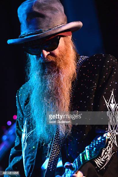 Musician Billy Gibbons of the band ZZ Top performs on stage at The Roxy Theatre on January 12 2015 in West Hollywood California