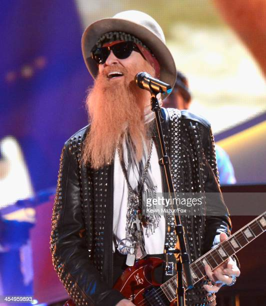 Musician Billy Gibbons performs onstage during the American Country Awards 2013 at the Mandalay Bay Events Center on December 10 2013 in Las Vegas...