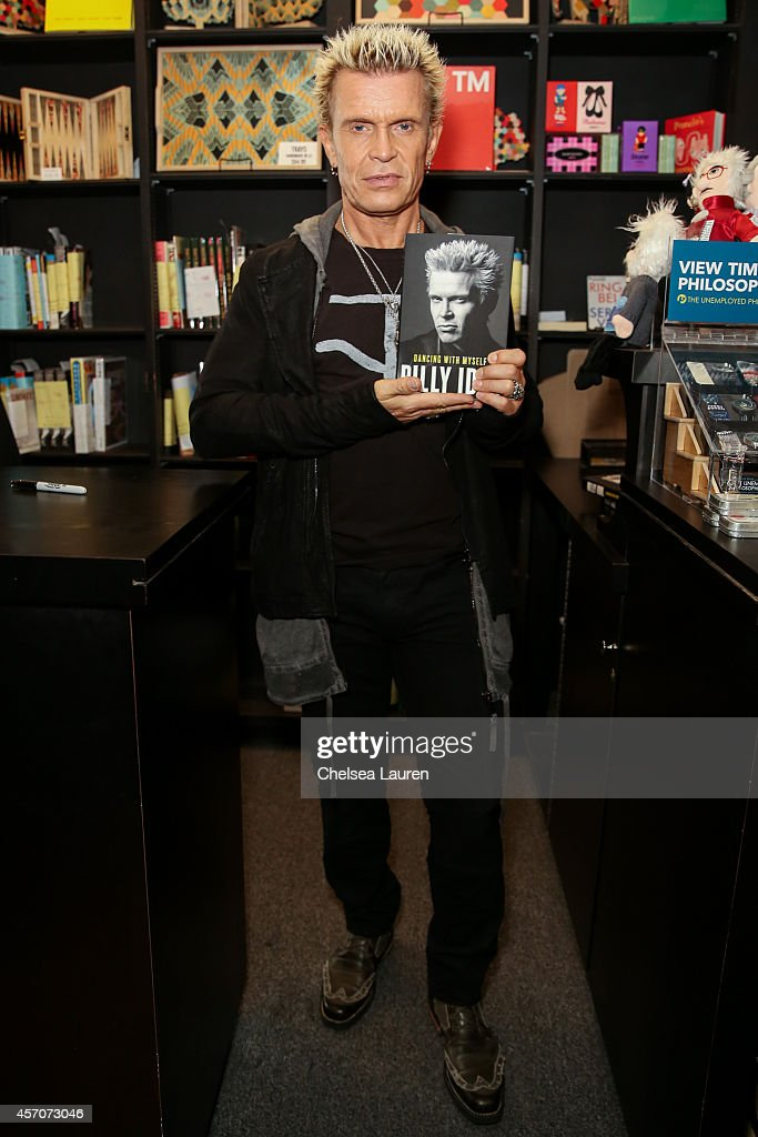 Musician Billy Idol attends the signing and discussion of his new book 'Dancing With Myself' at Book Soup on October 11 2014 in West Hollywood...