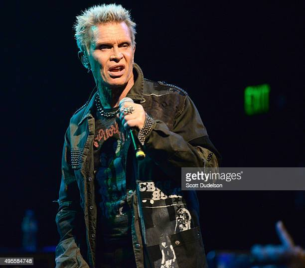 Musician Billy Idol performs onstage during Rhonda's Kiss Benefit Concert at the El Rey Theatre on November 3 2015 in Los Angeles California