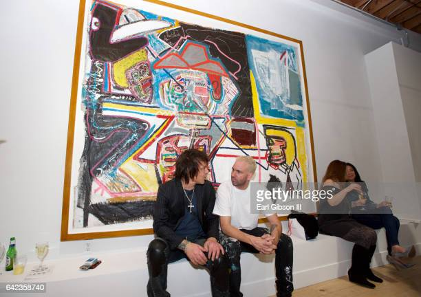 Musician Billy Morrison and artist Danny Mannick attend the Power To The Planet Exhibition Opening at De Re Gallery on February 16 2017 in West...