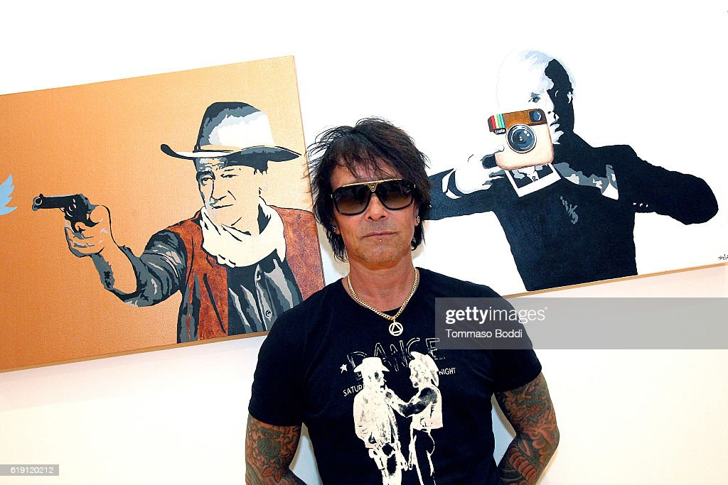 Musician Billy Morrison Gallery Opening Of 'Social Distortion: A Capsule Collection Of Fine Art By Billy Morrison' at Art On Scene on October 29, 2016 in West Hollywood, California.