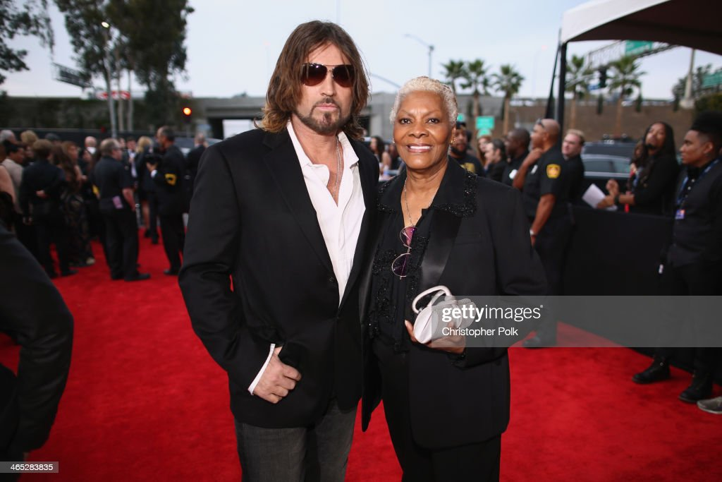 Musician Billy Ray Cyrus and singer Dionne Warwick attend the 56th GRAMMY Awards at Staples Center on January 26 2014 in Los Angeles California