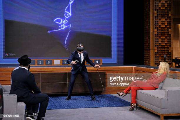 Musician Black Thought host Jimmy Fallon and Actress/comedian Kate McKinnon play a game during the 'The Tonight Show Starring Jimmy Fallon' on...
