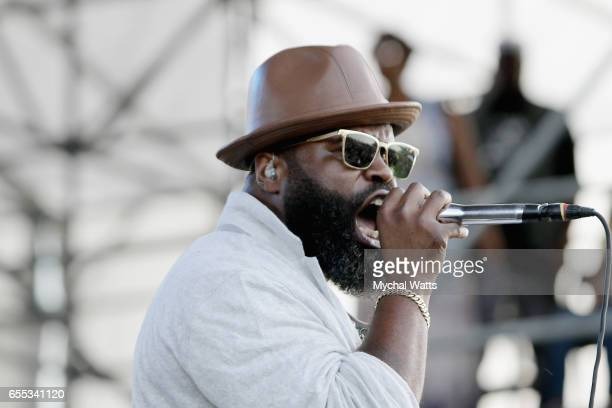 Musician Black Thought of The Roots performs on stage at The 12th Annual Jazz In The Gardens Music Festival Day 2 at Hard Rock Stadium on March 19...