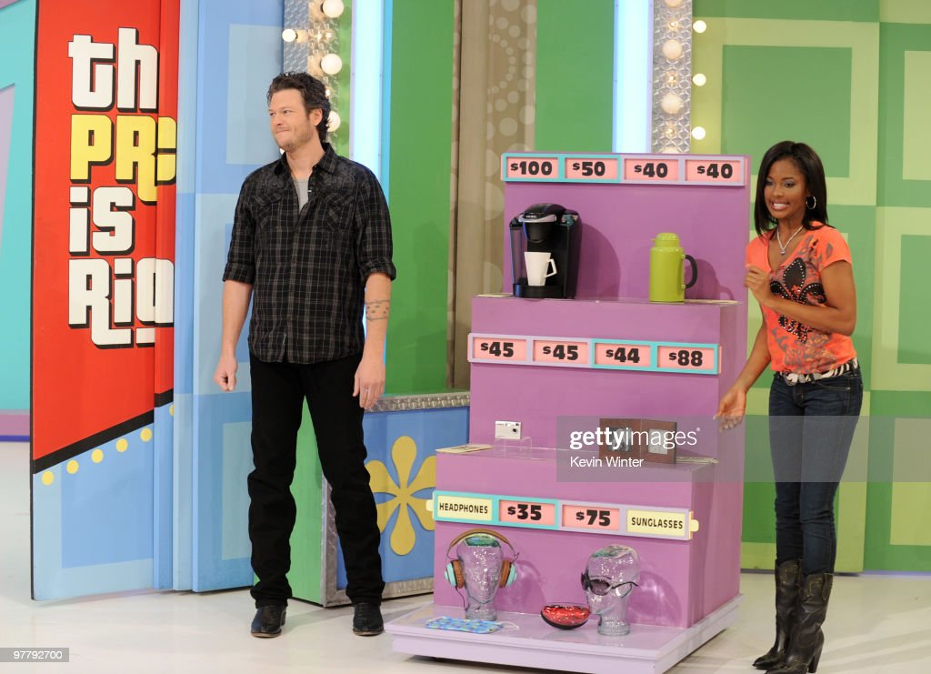Musician Blake Shelton and model Lanisha Cole appear on 'The Price is Right' at CBS Television City on March 16 2010 in Los Angeles California