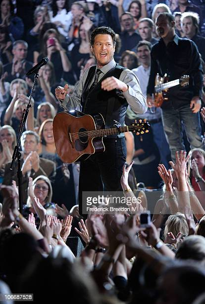Musician Blake Shelton performs onstage at the 44th Annual CMA Awards at the Bridgestone Arena on November 10 2010 in Nashville Tennessee