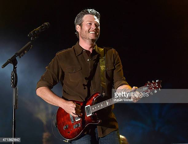 Musician Blake Shelton performs onstage during day three of 2015 Stagecoach California's Country Music Festival at The Empire Polo Club on April 26...