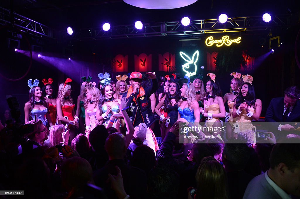 Musician B.o.B. and Playmates perform at The Playboy Party Presented by Crown Royal on February 1, 2013 in New Orleans, Louisiana.