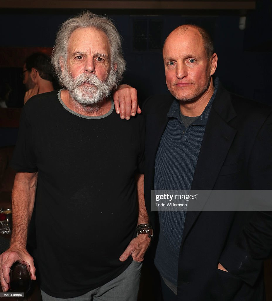 Musician Bob Weir (L) and actor Woody Harrelson attends the Amazon Studios celebration of 'Long Strange Trip' at the 2017 Sundance Film Festival, featuring a performance by Mickey Hart, Bill Kreutzmann, and Bob Weir, on January 22, 2017 in Park City, Utah.