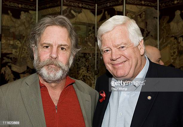 Musician Bob Weir and Congressman Jim McDermott pose for a photo at a HeadCount fundraiser held in a private home on April 7 2008 in Washington DC