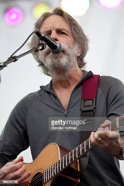 Musician Bob Weir performs at the Climate Rally on the National Mall on April 25 2010 in Washington DC The free concert and rally was organized by...