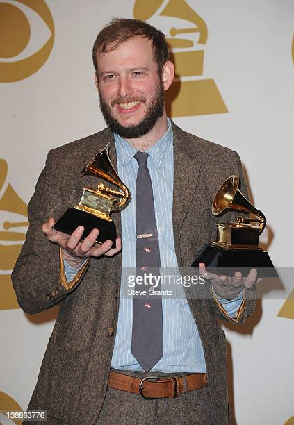 Musician Bon Iver poses in the Media Center during the 54th Annual GRAMMY Awards at Staples Center on February 12 2012 in Los Angeles California