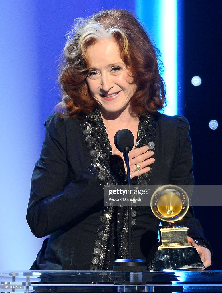 Musician Bonnie Raitt accepts Best Americana Album for 'Slipstream' onstage at the The 55th Annual GRAMMY Awards at Nokia Theatre on February 10, 2013 in Los Angeles, California.