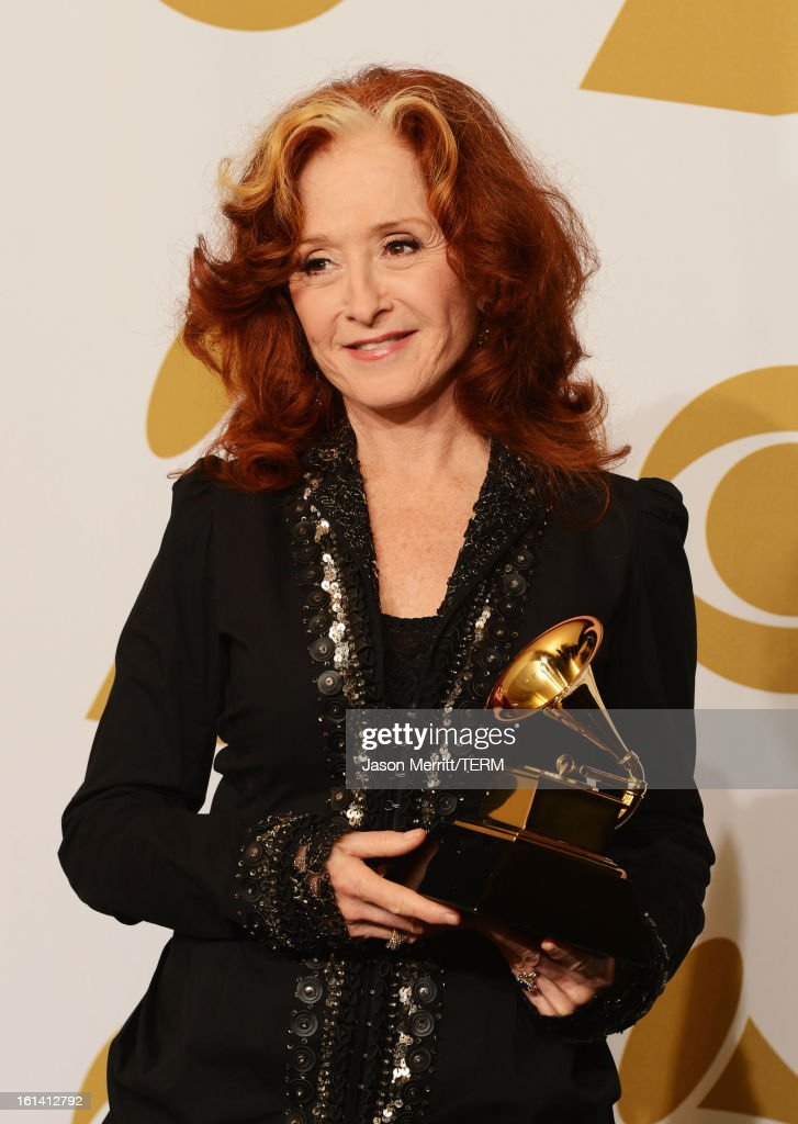 Musician Bonnie Raitt, winner of Best Americana Album for 'Slipstream,' poses in the press room at the 55th Annual GRAMMY Awards at Staples Center on February 10, 2013 in Los Angeles, California.