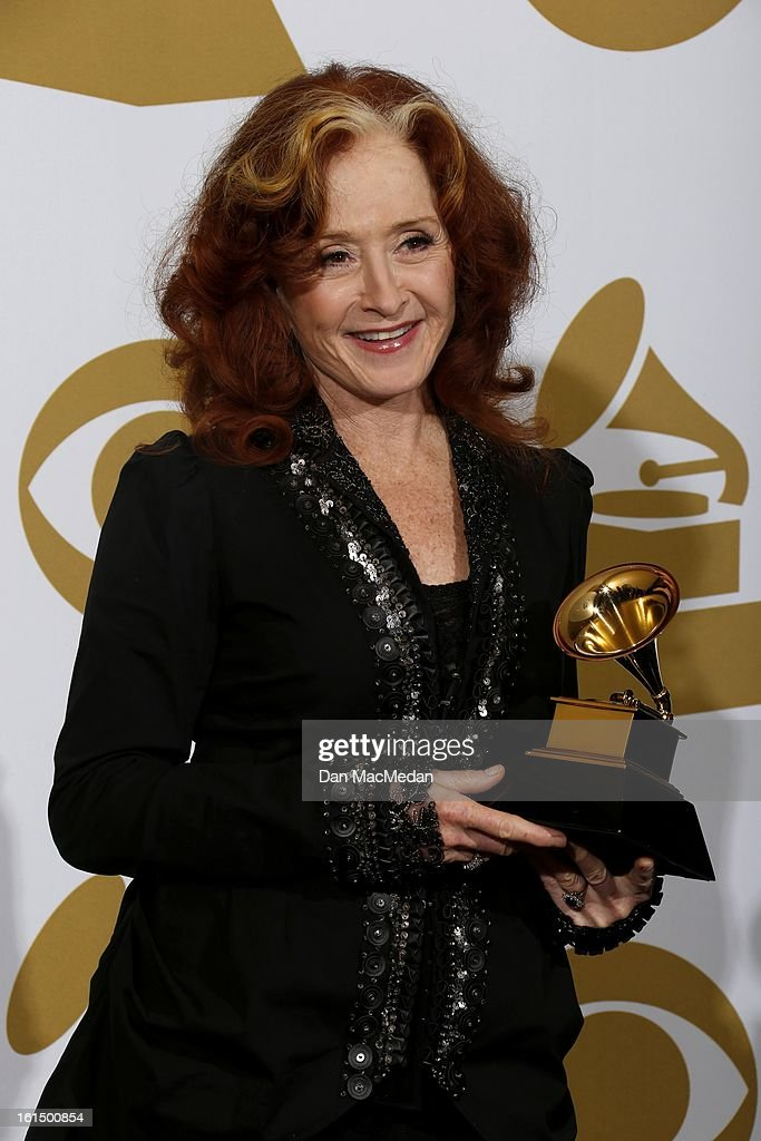 Musician Bonnie Raitt, winner of Best Americana Album for 'Slipstream,' poses in the press room at the 55th Annual Grammy Awards at the Staples Center on February 10, 2013 in Los Angeles, California.