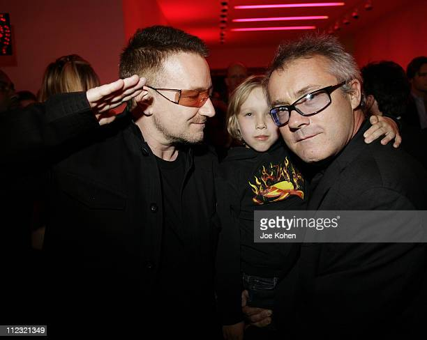 Musician Bono and artist Damien Hirst attend The Auction to raise money to fight AIDS in Africa at Sotheby's on February 14 2008 in New York City