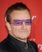Musician Bono arrives at the 25th Annual Palm Springs International Film Festival Awards Gala at Palm Springs Convention Center on January 4 2014 in...