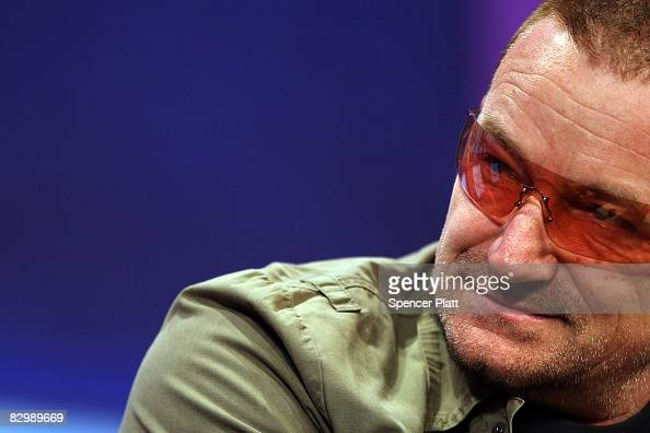 Musician Bono attends the opening session of the Clinton Global Initiative September 24 2008 in New York City President Clinton is hosting the fourth...