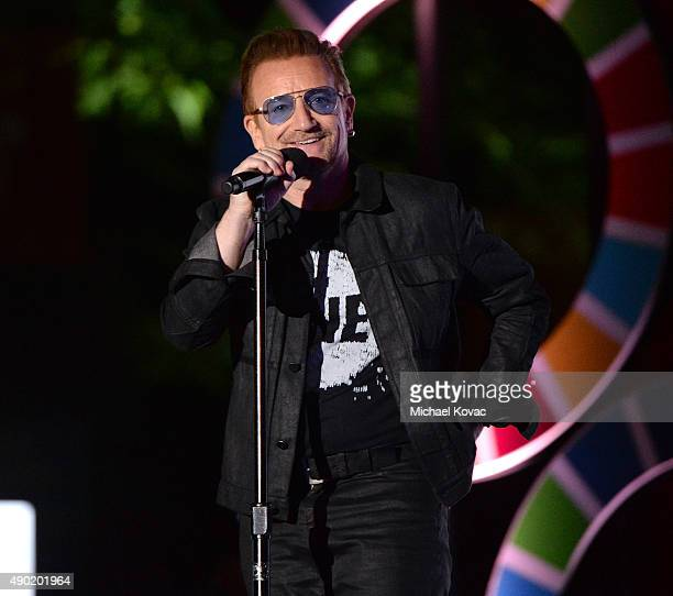 Musician Bono presents onstage at the 2015 Global Citizen Festival to end extreme poverty by 2030 in Central Park on September 26 2015 in New York...