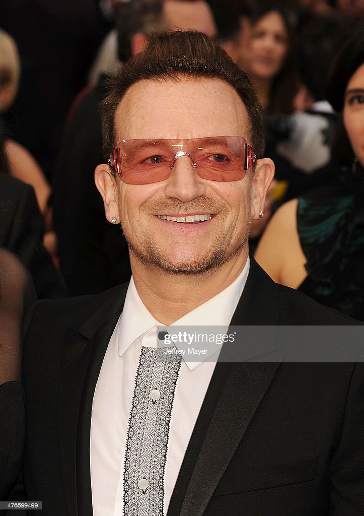 Musician <a gi-track='captionPersonalityLinkClicked' href=/galleries/search?phrase=Bono&family=editorial&specificpeople=167279 ng-click='$event.stopPropagation()'>Bono</a>; <a gi-track='captionPersonalityLinkClicked' href=/galleries/search?phrase=U2&family=editorial&specificpeople=201268 ng-click='$event.stopPropagation()'>U2</a> attends the 86th Annual Academy Awards held at Hollywood & Highland Center on March 2, 2014 in Hollywood, California.