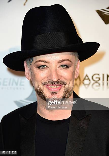 Musician Boy George arrives at the Premiere of IFC Films' 'Pele Birth Of A Legend' at Regal Cinemas LA Live on May 12 2016 in Los Angeles California