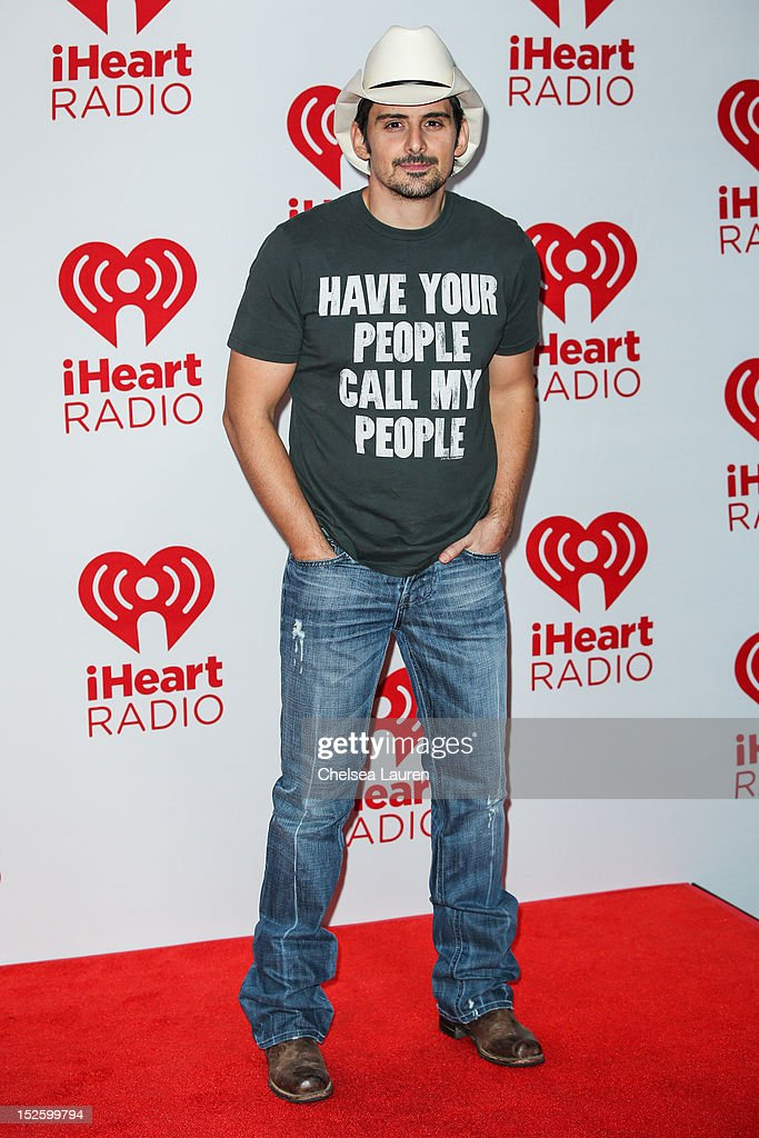 Musician <a gi-track='captionPersonalityLinkClicked' href=/galleries/search?phrase=Brad+Paisley&family=editorial&specificpeople=206616 ng-click='$event.stopPropagation()'>Brad Paisley</a> arrives at iHeartRadio Music Festival press room at MGM Grand Garden Arena on September 22, 2012 in Las Vegas, Nevada.
