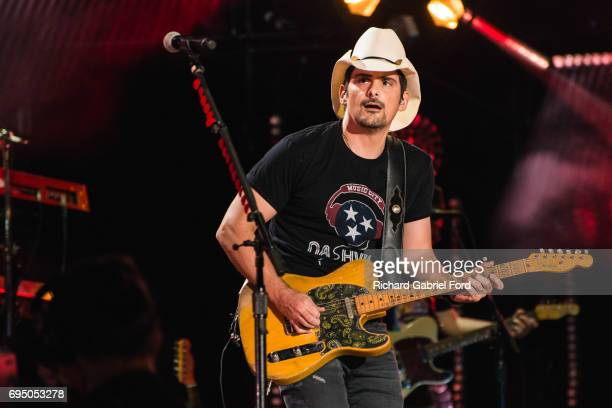 Musician Brad Paisley performs at Nissan Stadium during day 4 of the 2017 CMA Music Festival on June 11 2017 in Nashville Tennessee