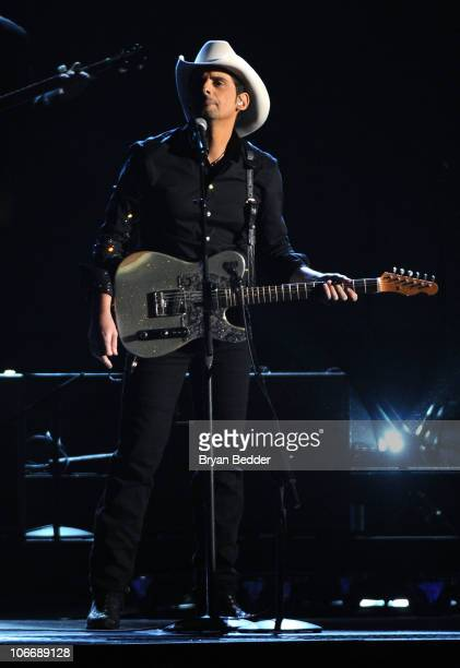 Musician Brad Paisley performs onstage at the 44th Annual CMA Awards at the Bridgestone Arena on November 10 2010 in Nashville Tennessee