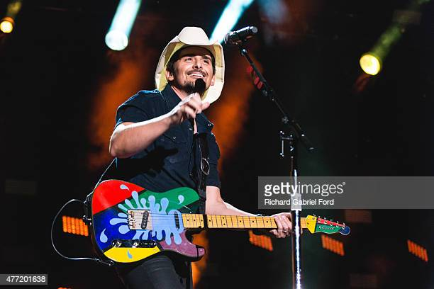Musician Brad Paisley performs onstage during day 4 of the 2015 CMA Festival on June 14 2015 in Nashville Tennessee