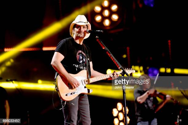 Musician Brad Paisley performs onstage for day 4 of the 2017 CMA Music Festival on June 11 2017 in Nashville Tennessee