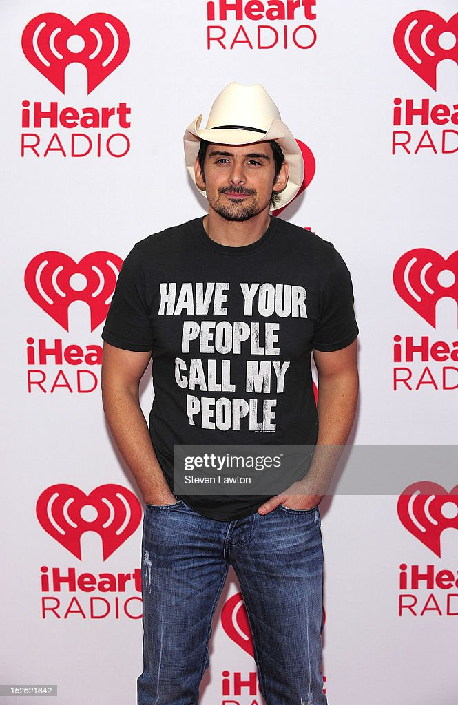 Musician <a gi-track='captionPersonalityLinkClicked' href=/galleries/search?phrase=Brad+Paisley&family=editorial&specificpeople=206616 ng-click='$event.stopPropagation()'>Brad Paisley</a> poses in the press room at the iHeartRadio Music Festival at the MGM Grand Garden Arena September 21, 2012 in Las Vegas, Nevada.