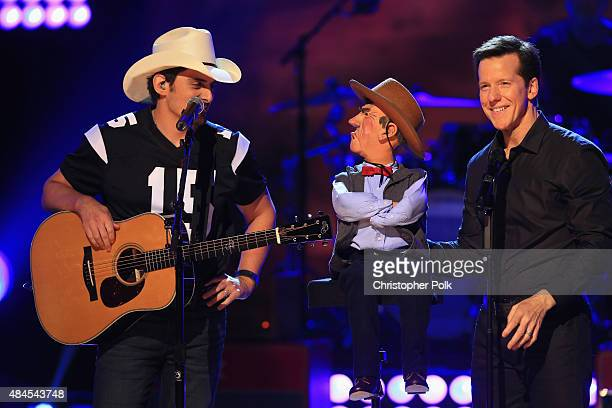Musician Brad Paisley 'Walter' and comedian Jeff Dunham speak onstage during Jeff Dunham Unhinged In Hollywood Featuring Special Guest Brad Paisley...