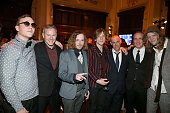 Musician Brad Shultz of Cage the Elephant CEO of RCA Records Peter Edge musicians Jared Champion Matt Shultz of Cage the Elephant Michael Goldstone...