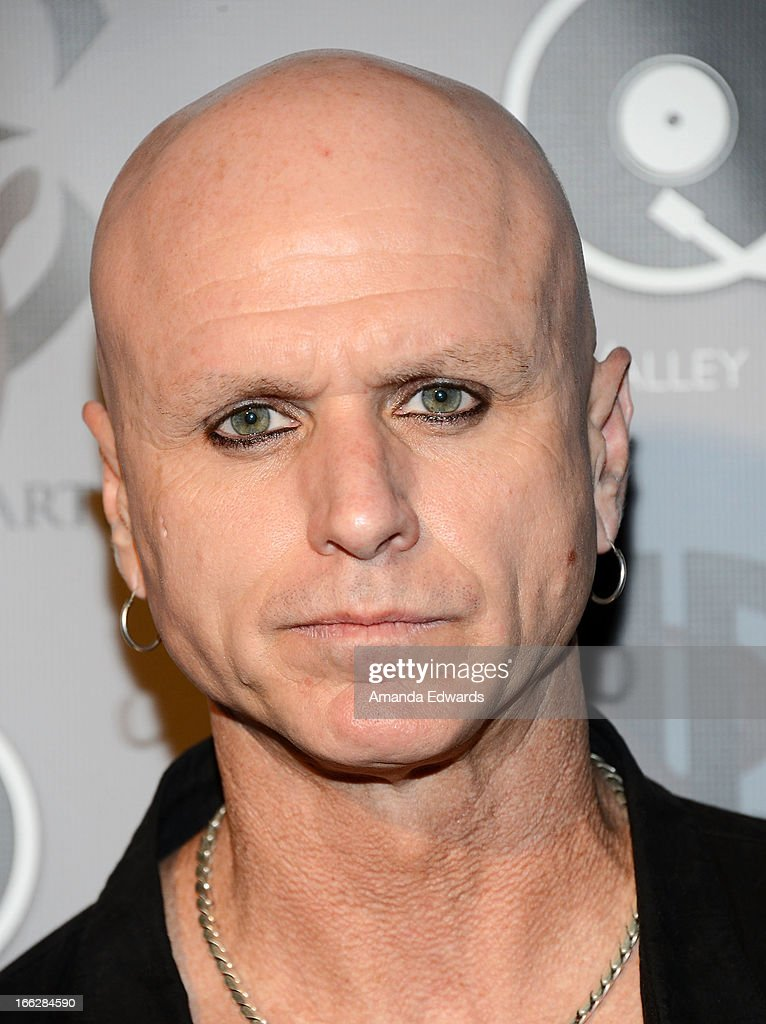 Musician Bradley Rude arrives at the Heaven and Earth 'Dig' world premiere album release party at The Fonda Theatre on April 10, 2013 in Los Angeles, California.