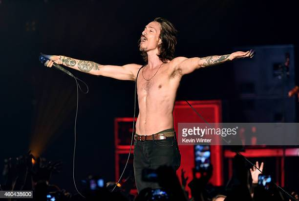 Musician Brandon Boyd of Incubus performs onstage during day one of the 25th annual KROQ Almost Acoustic Christmas at The Forum on December 13 2014...