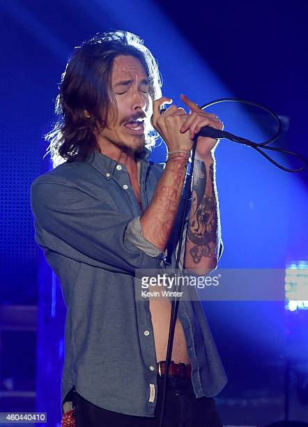 Musician Brandon Boyd performs onstage during day one of the 25th annual KROQ Almost Acoustic Christmas at The Forum on December 13 2014 in Inglewood...