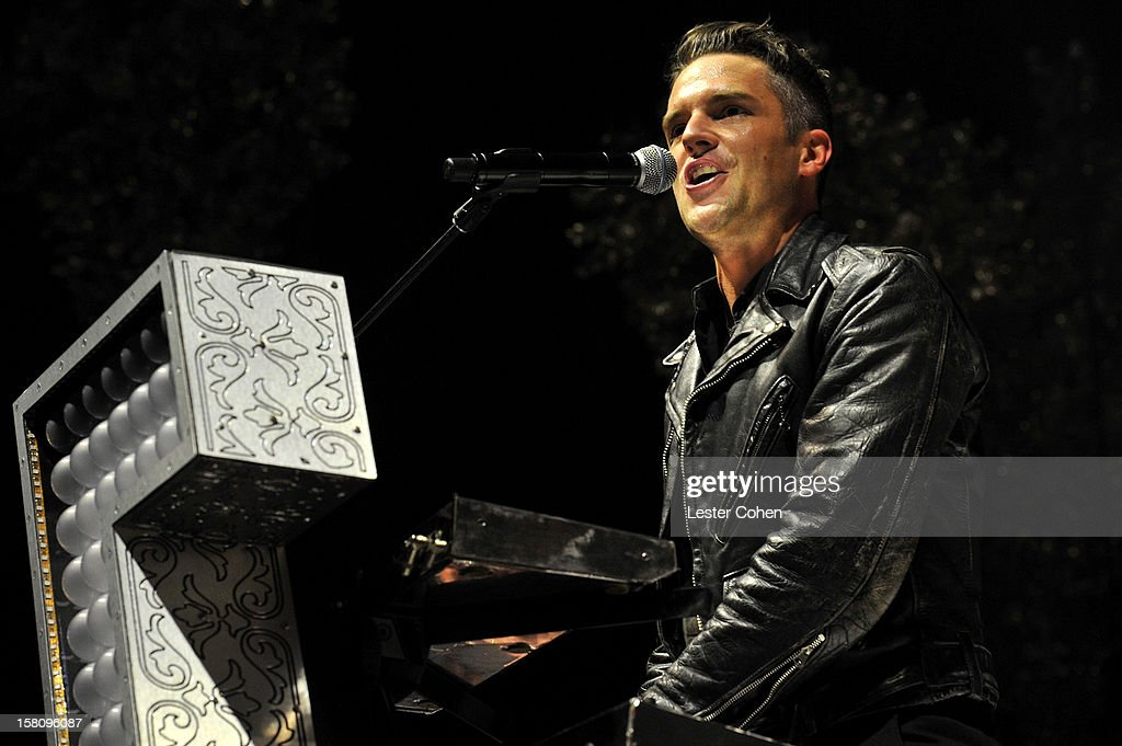 Musician Brandon Flowers of the band The Killers performs onstage at KROQ's Acoustic Christmas - Night 2 at Gibson Amphitheatre on December 9, 2012 in Universal City, California.