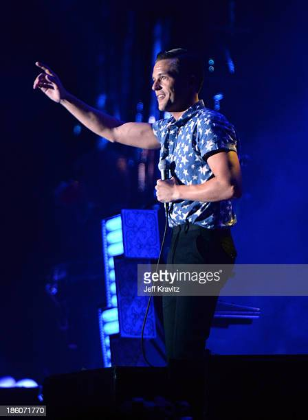 Musician Brandon Flowers of The Killers performs onstage during day 2 of the Life is Beautiful festival on October 27 2013 in Las Vegas Nevada