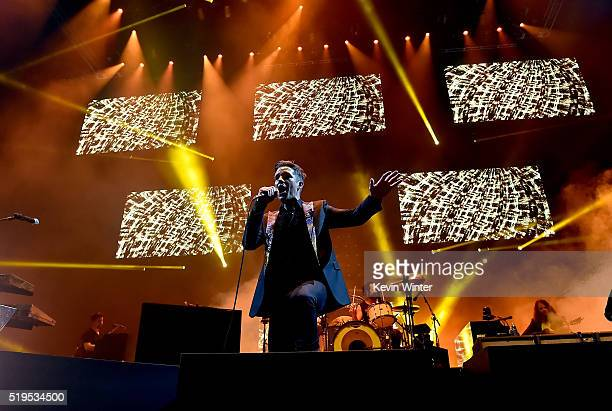Musician Brandon Flowers of The Killers performs onstage during the grand opening of TMobile Arena on April 6 2016 in Las Vegas Nevada