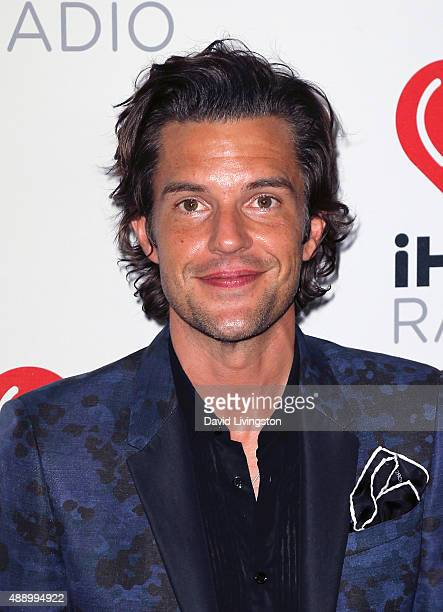 Musician Brandon Flowers of The Killers poses in the press room at the 2015 iHeartRadio Music Festival Night 1 on September 18 2015 in Las Vegas...