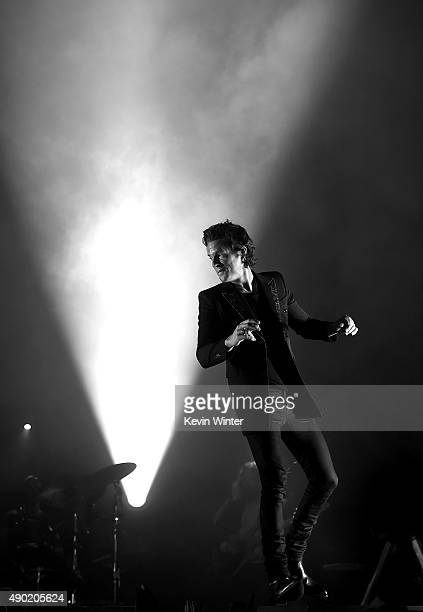 Musician Brandon Flowers performs onstage at The Wiltern on September 26 2015 in Los Angeles California