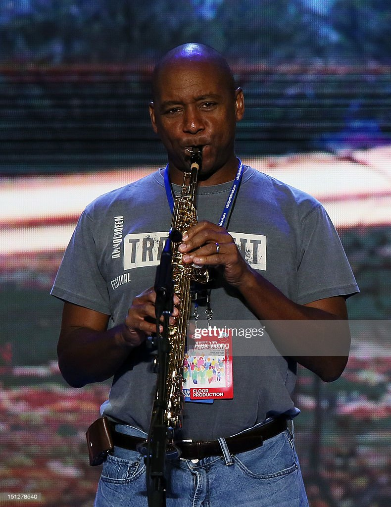 Musician Branford Marsalis performs for a sound check during day two of the Democratic National Convention at Time Warner Cable Arena on September 5, 2012 in Charlotte, North Carolina. The DNC that will run through September 7, will nominate U.S. President Barack Obama as the Democratic presidential candidate.