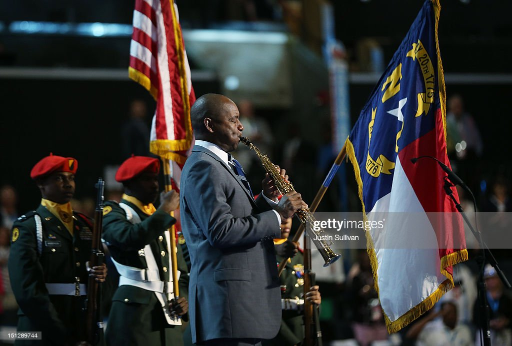 Musician Branford Marsalis performs the national anthem during day two of the Democratic National Convention at Time Warner Cable Arena on September 5, 2012 in Charlotte, North Carolina. The DNC that will run through September 7, will nominate U.S. President Barack Obama as the Democratic presidential candidate.