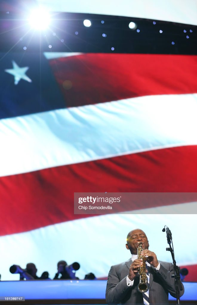Musician <a gi-track='captionPersonalityLinkClicked' href=/galleries/search?phrase=Branford+Marsalis&family=editorial&specificpeople=212811 ng-click='$event.stopPropagation()'>Branford Marsalis</a> performs the national anthem during day two of the Democratic National Convention at Time Warner Cable Arena on September 5, 2012 in Charlotte, North Carolina. The DNC that will run through September 7, will nominate U.S. President Barack Obama as the Democratic presidential candidate.