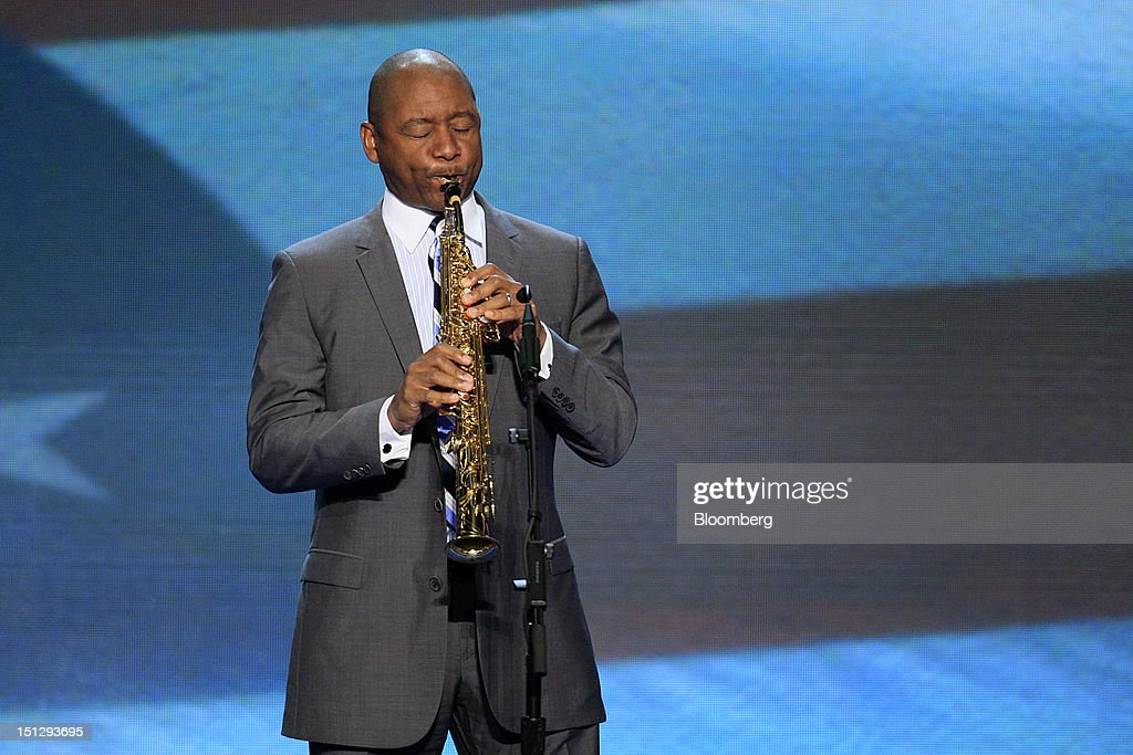 Musician Branford Marsalis performs the National Anthem during day two of the Democratic National Convention (DNC) in Charlotte, North Carolina, U.S., on Wednesday, Sept. 5, 2012. Democratic officials have moved President Barack Obama's nomination acceptance speech tomorrow night to the Time Warner Cable Arena from the larger, outdoor Bank of America Stadium because of the possibility of severe weather. Photographer: Scott Eells/Bloomberg via Getty Images