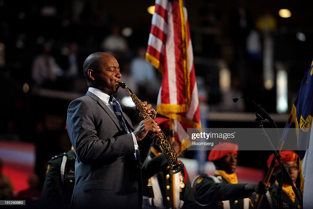 Musician Branford Marsalis performs the National Anthem during day two of the Democratic National Convention (DNC) in Charlotte, North Carolina, U.S., on Wednesday, Sept. 5, 2012. Democratic officials have moved President Barack Obama's nomination acceptance speech tomorrow night to the Time Warner Cable Arena from the larger, outdoor Bank of America Stadium because of the possibility of severe weather. Photographer: Daniel Acker/Bloomberg via Getty Images
